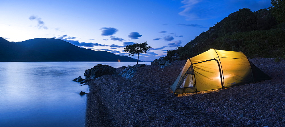 Camping at Loch Ness at night while canoeing the Caledonian Canal, Scottish Highlands, Scotland, United Kingdom, Europe