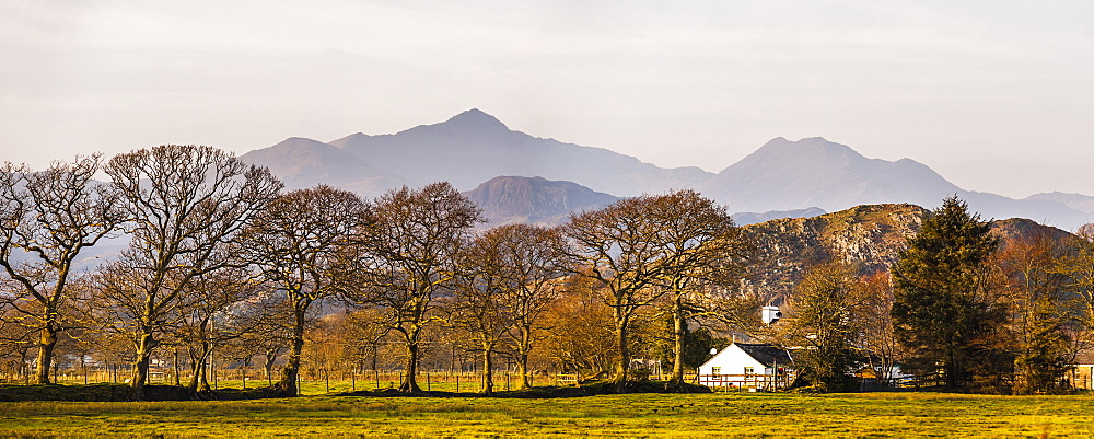 Snowdon Mountain seen from Croesor Valley, Snowdonia National Park, North Wales, Wales, United Kingdom, Europe