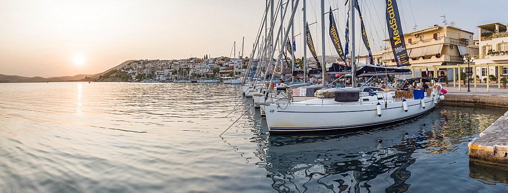 Sailing boats at sunset, Ermioni, Peloponnese, Greece, Europe - 1109-3383