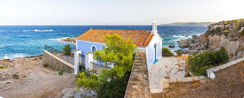 Church on Spetses, Saronic Islands, Attica Region, Aegean Coast, Greek Islands, Greece, Europe