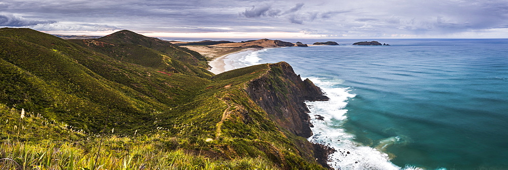 Te Werahi Beach at sunrise, with Te Paki Coastal Track path visible, Cape Reinga, North Island, New Zealand, Pacific