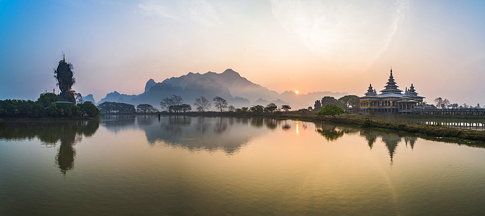 Kyauk Kalap Buddhist Temple in the middle of a lake at sunrise, Hpa An, Kayin State (Karen State), Myanmar (Burma), Asia
