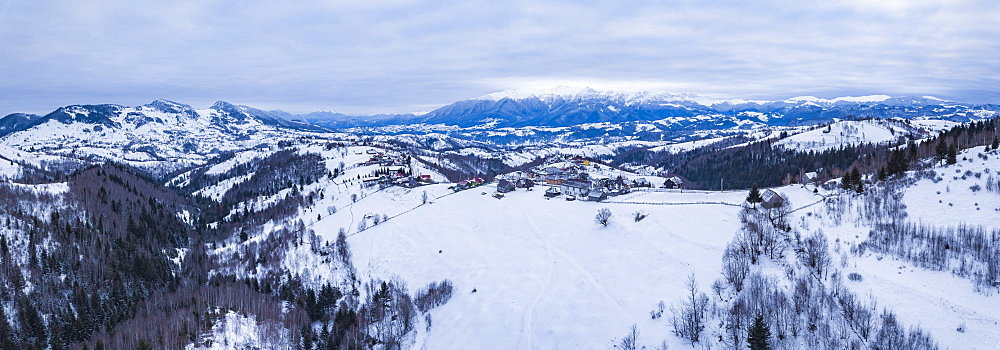 Snowy winter landscape in the Carpathian Mountains, Bran, Transylvania, Romania drone - 1109-3710