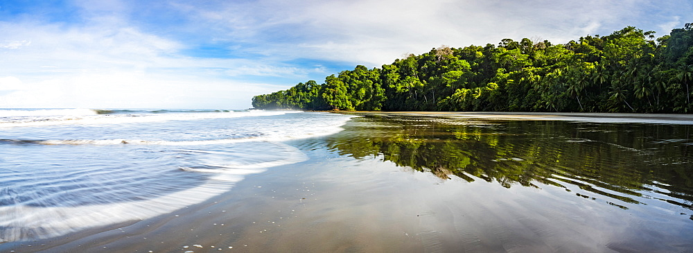 Playa Arco Beach and primary rainforest, Uvita, Marino Ballena National Park, Puntarenas Province, Pacific Coast of Costa Rica, Central America