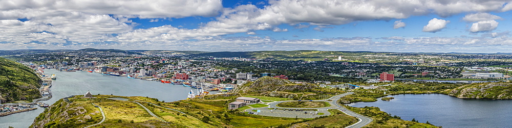 Panoramic view of St. Johns Harbour and downtown area, St. John's, Newfoundland, Canada, North America