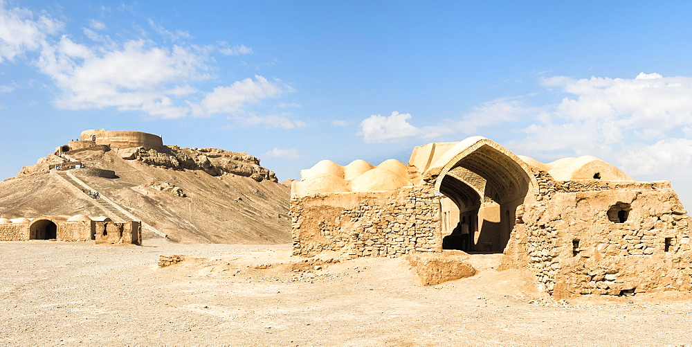 Ruins of ritual buildings in front of Dakhmeh Zoroastrian Tower of Silence, Yazd, Iran, Middle East
