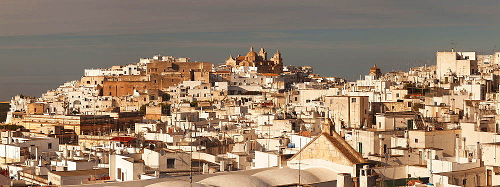 View of Ostuni and cathedral, Valle d'Itria, Bari district, Puglia, Italy, Europe