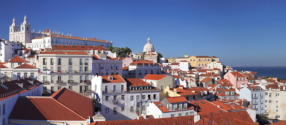 Santa Luzia viewpoint, Sao Vicente de Fora monastery, National Pantheon, Alfama district, Lisbon, Portugal