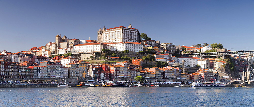 View over Douro River to Ribeira District, UNESCO World Heritage Site, Se Cathedral, Porto, Oporto, Portugal