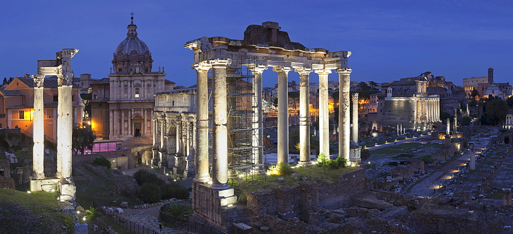 Roman Forum (Foro Romano), Temple of Saturn and Arch of Septimius Severus, Rome, Lazio, Italy