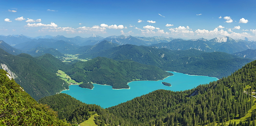 View from Herzogstand mountain to Walchensee Lake and Karwendelgebirge mountains, Upper Bavaria, Bavaria, Germany, Europe