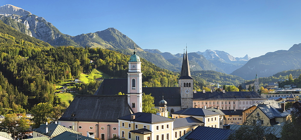 View over Berchtesgaden to Church of St.Peter and Jenner Mountain, Berchtesgaden, Upper Bavaria, Bavaria, Germany - 1160-3979