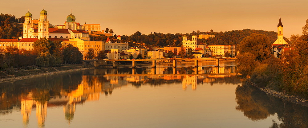 Panorama with St. Stephen's Cathedral at sunset in Passau, Germany, Europe