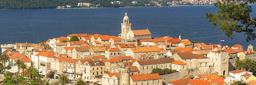 Old Town of Korcula at sunset, Island of Korcula, Adriatic Sea, Dalmatia, Croatia, Europe