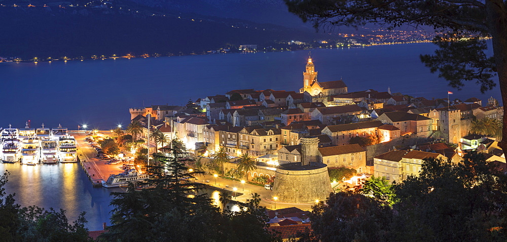 View over the Old Town of Korcula at night, Island of Korcula, Dalmatia, Croatia, Europe