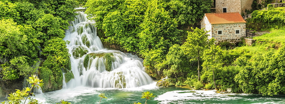 Mill at Skradinski Buk Waterfalls, Krka National Park, Dalmatia, Croatia, Europe - 1160-4169