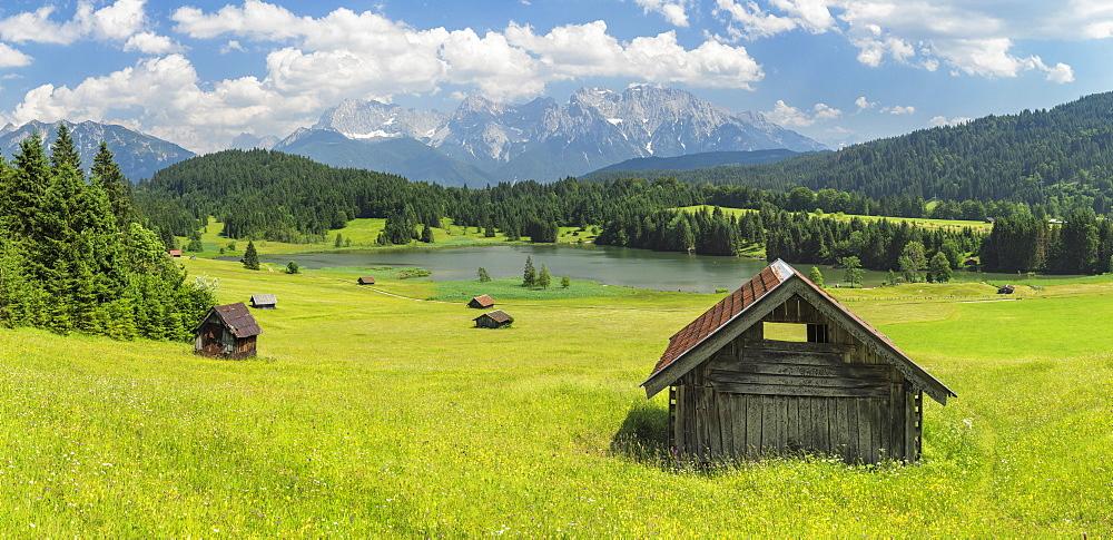 Geroldsee Lake against Karwendel Mountains in summer, Klais, Werdenfelser Land, Upper Bavaria, Germany, Europe