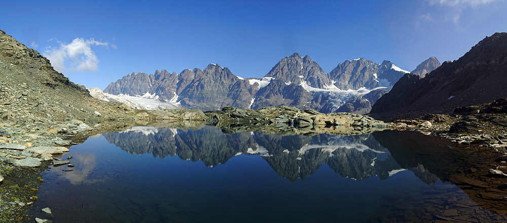 Panorama of Laghetto Forbici and Bernina Group on a summer day, Malenco Valley, Valtellina, Lombardy, Italy, Europe