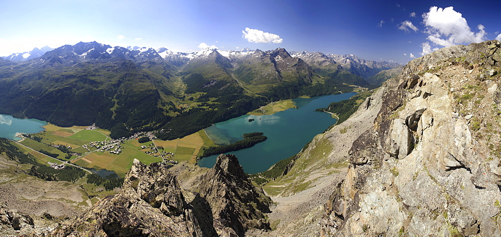 Panoramic view of lakes, St. Moritz, Engadine, Canton of Graubunden, Switzerland, Europe