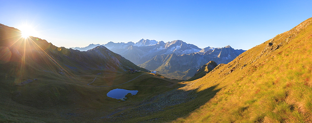 Panorama of Cima Presanella at dawn seen from Monte Tonale, Valcamonica, border Lombardy and Trentino-Alto Adige, Italy, Europe