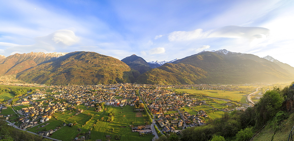Panorama of the town of Morbegno at sunset, province of Sondrio, Valtellina, Lombardy, Italy, Europe - 1179-2288