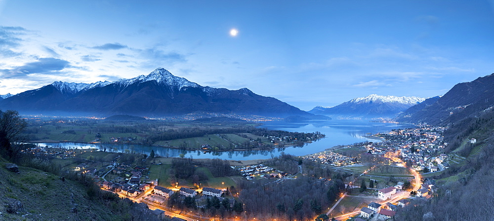 Panorama of Sorico and Lake Como seen from Chiesa Di San Miro at dusk, Province of Como, Lombardy, Italy, Europe