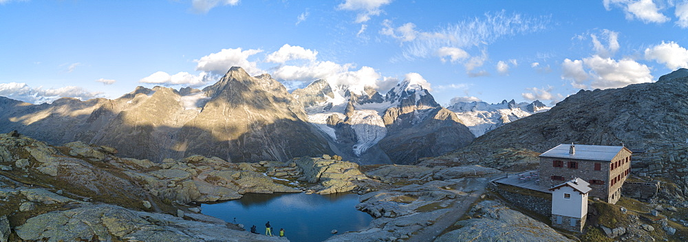 Panoramic of Bernina massif and Roseg Valley from Fuorcla Surlej, Engadine, Canton of Graubunden, Swiss Alps, Switzerland, Europe