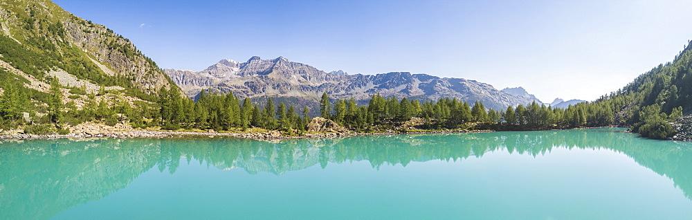 Panoramic of turquoise Lago Lagazzuolo, Chiesa In Valmalenco, Province of Sondrio, Valtellina, Lombardy, Italy, Europe (Drone) - 1179-2531