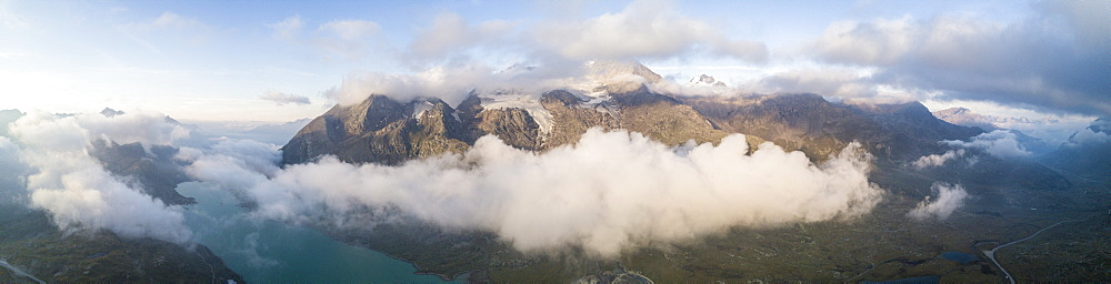 Panoramic of Piz Arlas, Cambrena, Caral at dawn Bernina Pass, Poschiavo Valley, Engadine, Canton of Graubunden, Switzerland, Europe (Drone) - 1179-2540