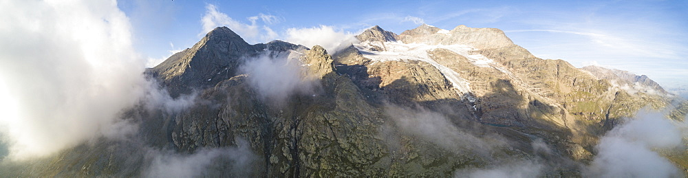 Panoramic of Piz Arlas, Cambrena, Caral at dawn Bernina Pass, Poschiavo Valley, Engadine, Canton of Graubunden, Switzerland, Europe (Drone) - 1179-2541