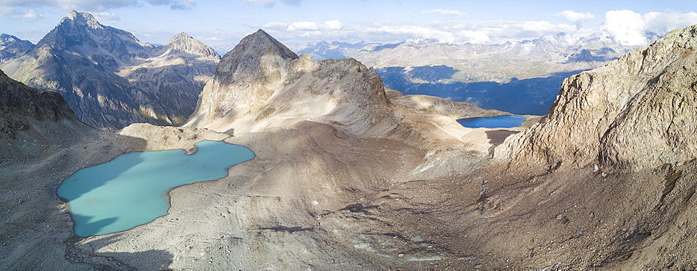 Panoramic of Lej Lagrev seen from drone, Silvaplana, Engadine, Canton of Graubunden, Switzerland, Europe (Drone) - 1179-2560