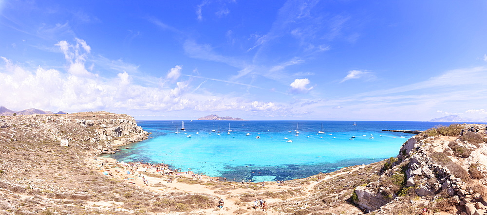 Panoramic of Cala Rossa, Favignana island, Aegadian Islands, province of Trapani, Sicily, Italy, Mediterranean, Europe
