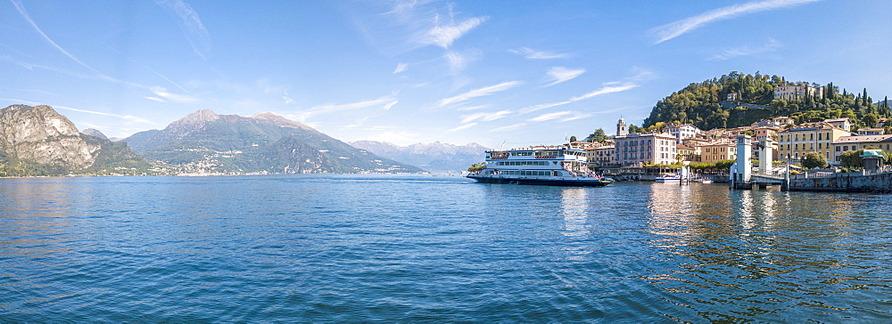 Panoramic aerial view of ferry boat at Bellagio on the shore of Lake Como, Province of Como, Lombardy, Italian Lakes, Italy, Europe (Drone) - 1179-2913
