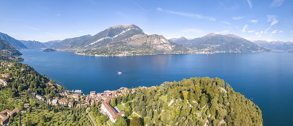 Panoramic aerial view of Bellagio on green promontory on the shore of Lake Como, Province of Como, Lombardy, Italy - 1179-2914