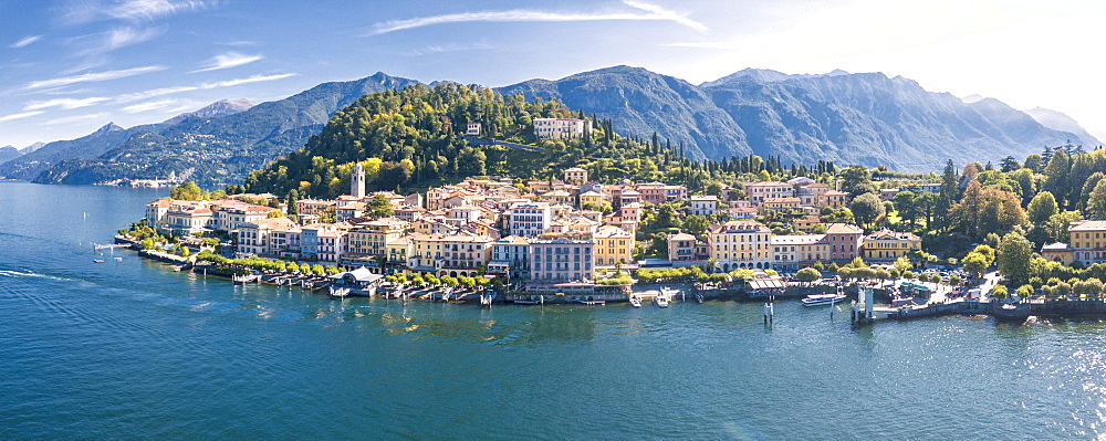 Panoramic aerial view of Bellagio on green promontory on the shore of Lake Como, Province of Como, Lombardy, Italian Lakes, Italy, Europe (Drone) - 1179-2918