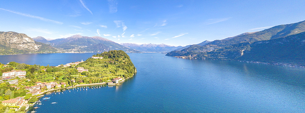 Panoramic aerial view of the village of Pescallo and Lake Como, Bellagio, Province of Como, Lombardy, Italian Lakes, Italy, Europe (Drone) - 1179-2919