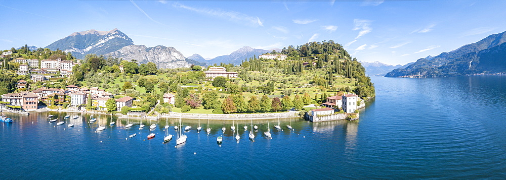 Panoramic aerial view of sailboats in Lake Como around the village of Pescallo, Bellagio, Province of Como, Lombardy, Italian Lakes, Italy, Europe (Drone) - 1179-2920