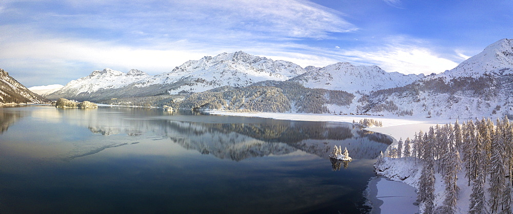 Aerial panoramic view of Lake Sils and Plaun da Lej during winter, Maloja Region, Canton of Graubunden, Engadine, Switzerland, Europe