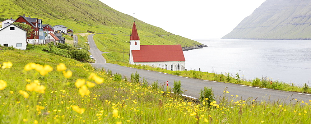 Panoramic of the traditional village of Husar, Kalsoy Island, Faroe Islands, Denmark, Europe