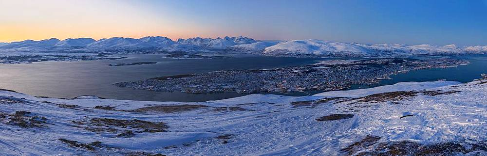 Panoramic of Troms seen from Fjellheisen at dusk, Troms county, Norway - 1179-3255