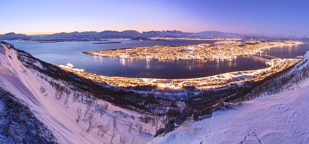 Panoramic of Troms seen from Fjellheisen at dusk, Troms county, Norway - 1179-3256