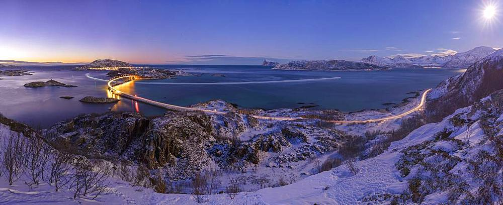 Panoramic of bridge and sea at dusk, Sommaroy island, Troms county, Norway - 1179-3257
