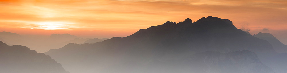 Panoramic of Monte Resegone and Monte Due Mani at dawn, Monte Coltignone, Lecco, Lombardy, Italy - 1179-3274