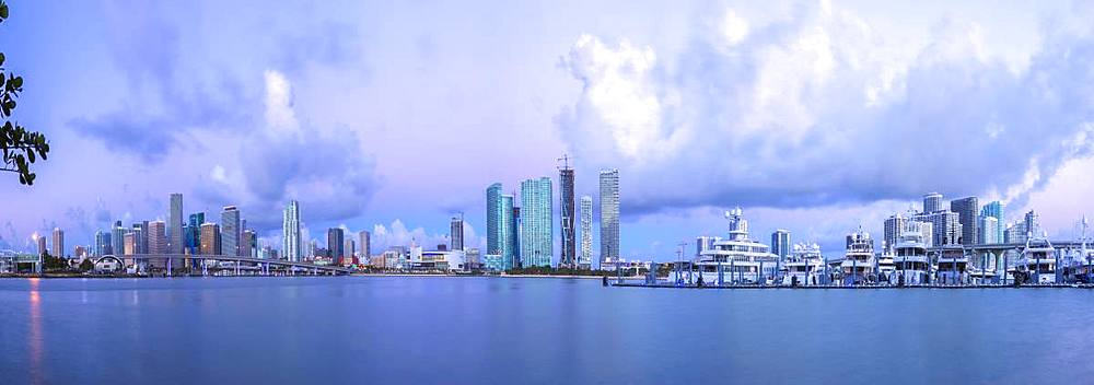 Panoramic of skyline of Downtown Miami from Watson Island, Miami, Florida, United States of America, North America