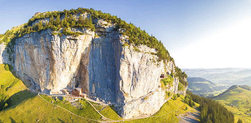 Aerial panoramic of Aescher-Wildkirchli Gasthaus, Ebenalp, Appenzell Innerrhoden, Switzerland, Europe
