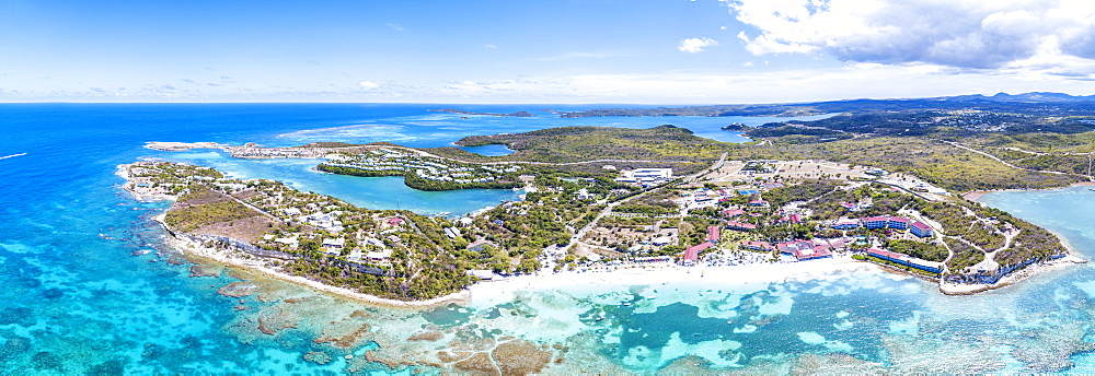 Panoramic of turquoise sea around Long Bay, Antigua, Antigua and Barbuda, Leeward Islands, West Indies, Caribbean, Central America