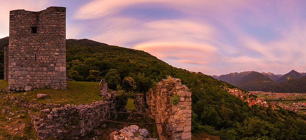 Panoramic of Castello di Domofole at sunset, Costiera dei Cech, Mello, Sondrio province, Lower Valtellina, Lombardy, Italy, Europe