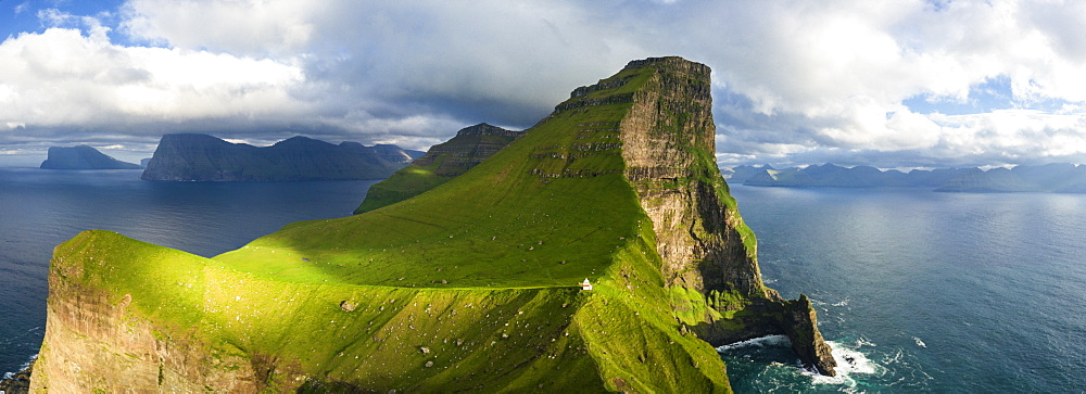 Aerial panoramic of Kallur lighthouse, Kalsoy island, Faroe Islands, Denmark