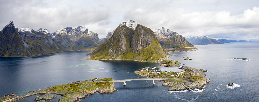 Aerial panoramic of Reine Bay and Hamnoy, Moskenes, Lofoten Islands, Norway (drone)