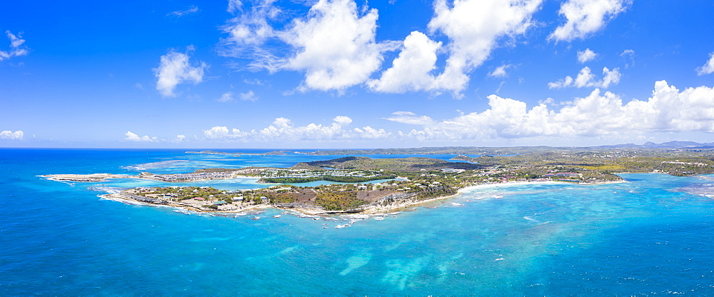 Aerial panoramicby drone of Long Bay, Devil's Bridge and The Verandah resort, Antigua, Antigua and Barbuda, Leeward Islands, West Indies, Caribbean, Central America